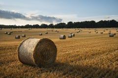 Schönes Landschaftslandschaftsbild von Heuballen in Sommer fie Stockfotografie