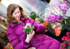 Schönes Mädchen, das Blumen am Markt wählt Stockfotografie