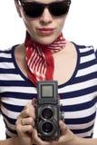 Schönes Mädchen im klassischen Blick der Franzosen 60s Lizenzfreies Stockbild