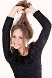Schönes Mädchen mit dem langen Haar Stockfoto