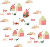 Schönes Patchworkmuster mit Karikaturhäusern, -hunden und -wolken Stockfotografie