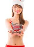 Schönes Sankt-Weihnachtsmädchen mit Einkaufslaufkatze Lizenzfreies Stockfoto