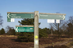 Schneverdingen Germany - Guidepost in the Luneburg Heath Stock Images