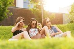Schönheit drei, welche die gutaussehenden Männer im Gras betrachtet Stockfotos