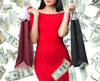 Schönheit in einem roten Kleid hält fantastische Einkaufstaschen Unten fallen Dollaranmerkungen Getrennt Stockbild