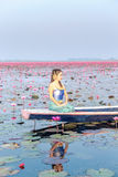 Schönheit im thailändischen Trachtenkleid, sitzend im Boot in Meer von rosa Lotos in Udonthani-Provinz Lizenzfreies Stockfoto
