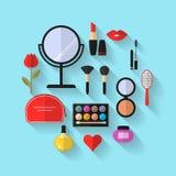 Schönheit, Kosmetik und Make-up Vector flache Ikonen Lizenzfreie Stockfotografie