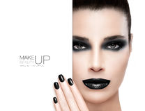 Schönheits-Make-up und Nagel Art Concept Stockfoto