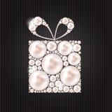 Schönheits-Perlen-Geschenk-Hintergrund-Vektorillustration Stockfotos