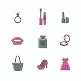Schönheits- und Make-upikonen - Satz Zeichen bezog sich auf Frauen Stockbild