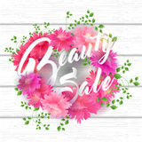 Schönheits-Verkaufs-Beschriftung mit blühenden Blumen und Blatt Stockfotos