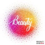 Schönheitsdesign für Grußkartenschablone, Frauenzeitschrift, Websiteplan mit Spritzen und künstlerischen Explosionseffekt Lizenzfreies Stockfoto