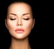 Schönheitsfrauen-Gesichtsnahaufnahme Stockfoto