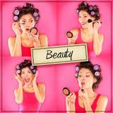Schönheitsfrauenmake-upkonzeptcollagen-Reihe auf Rosa Stockfotos
