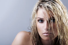 Schönheitsporträt Blondine mit dem nassen Haar Lizenzfreies Stockbild