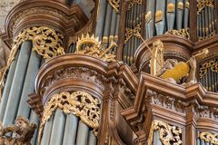 Schnitger organ in the Grote Kerk in Zwolle, Netherlands royalty free stock images