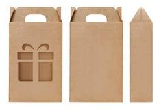 Schnitt braune Fensterform des Kastens Verpackungsschablone, leere lokalisierter weißer Hintergrund Kraftpapier-Kastens Pappe her lizenzfreies stockfoto