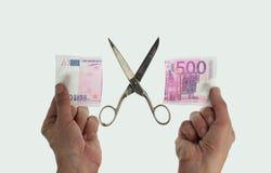 Schnitt der Anmerkung des Euros 500 Stockfoto