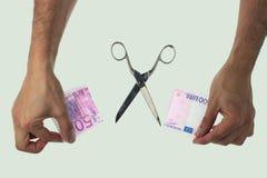 Schnitt der Anmerkung des Euros 500 Stockfotografie