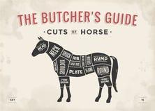 Schnitt des Fleischsatzes Plakat-Metzgerdiagramm, Entwurf - Pferd Stockfotografie