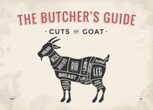 Schnitt des Fleischsatzes Plakat-Metzgerdiagramm, Entwurf - Ziege Stockfotos