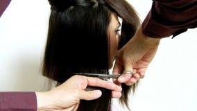 Schnitt des langen Haares stock footage