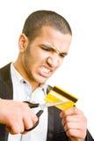 Schnitt einer Kreditkarte lizenzfreies stockfoto