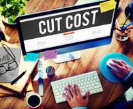 Schnitt-Kosten verringern Rezessions-Defizit-Wirtschafts-Finanzkonzept lizenzfreies stockfoto