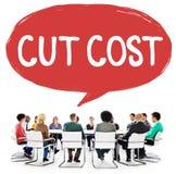 Schnitt-Kosten verringern Rezessions-Defizit-Wirtschafts-Finanzkonzept lizenzfreie stockfotografie