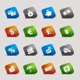 Schnitt-Quadrate - Finanzikonen Lizenzfreie Stockfotos