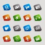 Schnitt-Quadrate - Media-Ikonen Lizenzfreie Stockfotos