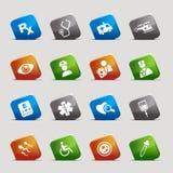Schnitt-Quadrate - medizinische Ikonen Lizenzfreies Stockbild
