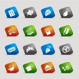 Schnitt-Quadrate - Nahrungsmittelikonen Lizenzfreies Stockfoto