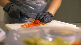 Schnitt roten bulgarischen Pfeffer in Stücke für Gemüsesalatabschluß oben vorbereiten lizenzfreie stockbilder