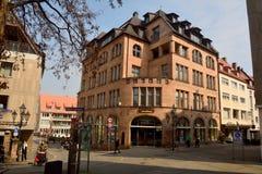 Schnitt von Hintere Ledergasse, von Kaiserstrasse und von der Karlsbrucke in Nürnberg Lizenzfreie Stockbilder