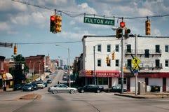Schnitt von Pennsylvania-Allee und Fulton Avenue in Baltimo Lizenzfreies Stockfoto