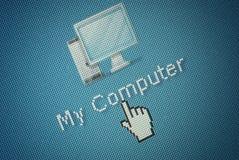 Schnittstellencomputer Ikone und ein Handmäusecursor Stockfotografie
