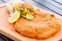 Schnitzel με τη σαλάτα Στοκ εικόνες με δικαίωμα ελεύθερης χρήσης