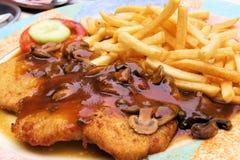 schnitzel соуса muchroom Стоковая Фотография