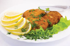 Schnitzel. With lemon and lettuce Stock Photography