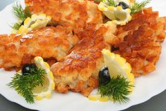 Schnitzel. With lemon slice on plate Royalty Free Stock Image