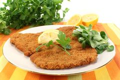 Schnitzel. Viennese-style schnitzel with lemon and parsley Stock Photos