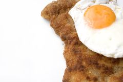 Schnitzel. A freshly cooked hamburger schnitzel royalty free stock images