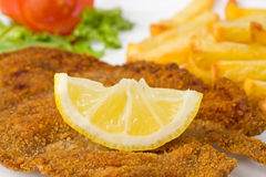 Schnitzel. Detail of a viennese schnitzel on a plate Stock Photos