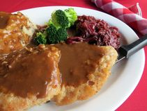 Schnitzel. Breaded pork schnitzel served with mashed potatoes and gravy, cooked red cabbage and broccoli royalty free stock images