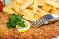 Schnitzel with Chips Royalty Free Stock Images