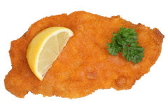 Schnitzel chop cutlet with lemon isolated Royalty Free Stock Images
