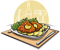 Schnitzel cutlet with boiled potato vector illustration