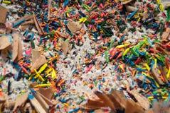 Schnitzel der farbigen Bleistiftnahaufnahme Stockbilder
