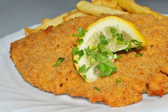 Schnitzel with french fries. Cutlet close-up with french fries and lemon piece Stock Photos